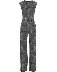 Norma Kamali - Multicolor Printed Stretch-jersey Jumpsuit - Lyst
