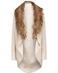 Joie - Natural Helma Faux Fur-embellished Wool And Yak-blend Cardigan - Lyst