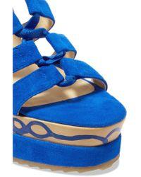 Paloma Barceló - Blue Ariella Suede Wedge Sandals - Lyst