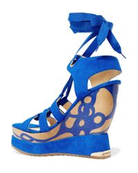 Paloma Barceló - Blue Ariella Suede Wedge Sandals - Lyst