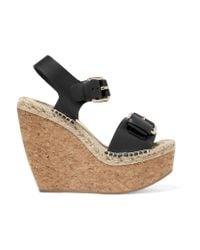 Paloma Barceló   Black Nicole Leather Wedge Sandals   Lyst