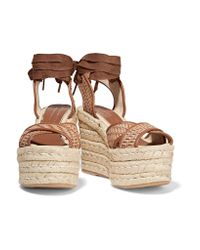Paloma Barceló - Brown Woven Leather Wedge Espadrille Sandals - Lyst