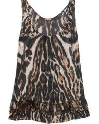 Roberto Cavalli - Multicolor Leopard-print Silk Top - Lyst