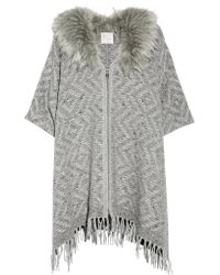 Joie - Gray Purnima Oversized Faux Fur-trimmed Woven Wool-blend Sweater - Lyst