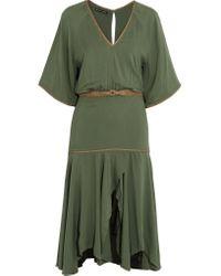 ViX - Green Belted Jersey Military Dress - Lyst