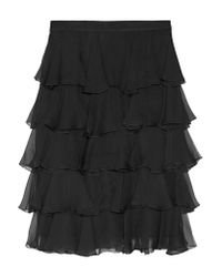 Balmain - Black Ruffled Silk-georgette Skirt - Lyst