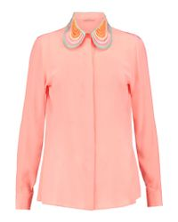Christopher Kane - Pink Embroidered Silk Blouse - Lyst