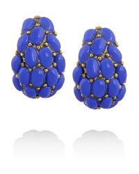 Kenneth Jay Lane - Blue Gold-plated Cabochon Clip Earrings - Lyst