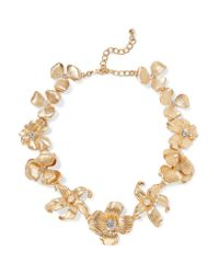 Kenneth Jay Lane | Metallic Gold-tone Crystal Faux Pearl Necklace | Lyst