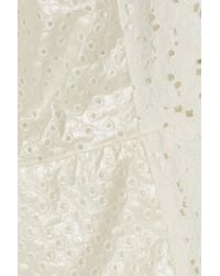 SUNO | White Broderie Anglaise Cotton Mini Dress | Lyst