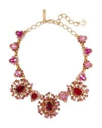 Oscar de la Renta | Pink Tiered Crystal Necklace | Lyst