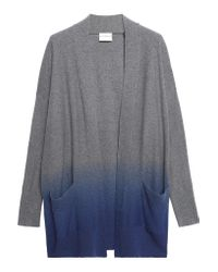 DKNY - Blue Ombré Wool, Silk And Cashmere-blend Cardigan - Lyst