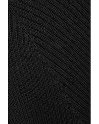 Splendid | Black Cold-shoulder Ribbed Cotton Sweater | Lyst