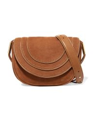 Diane von Furstenberg - Brown Leather-trimmed Nubuck Shoulder Bag - Lyst