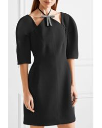 Marni - Black Cutout Embellished Bonded-jersey Mini Dress - Lyst
