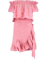 Goen.J - Pink Off-the-shoulder Ruffle-trimmed Wrap-effect Linen Mini Dress - Lyst