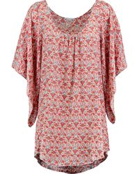 Eberjey | Red Wild Tribe Clara Printed Twill Coverup | Lyst