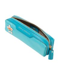 Anya Hindmarch - Blue Embellished Leather-trimmed Shell Pencil Case - Lyst