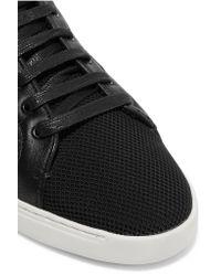 Rag & Bone | Black Kent Leather-trimmed Mesh Sneakers | Lyst