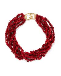 Kenneth Jay Lane - Red Beaded Resin Necklace - Lyst