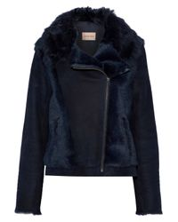 Yves Salomon - Blue Woman Paneled Shearling And Suede Biker Jacket Navy - Lyst