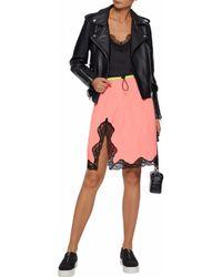 Alexander Wang - Pink Lace-trimmed Shell Skirt - Lyst