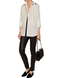 Vince - White Faux Leather-trimmed Silk-crepe Shirt - Lyst