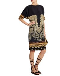 Etro - Black Printed Stretch-silk Dress - Lyst
