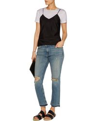 Current/Elliott - Blue The Cropped Mid-rise Straight-leg Jeans - Lyst