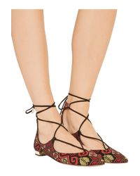 Aquazzura - Black Christy Embroidered Suede Point-toe Flats - Lyst