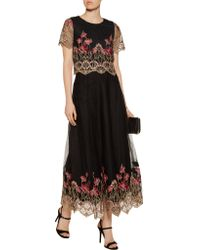 Notte by Marchesa - Black Embroidered Tulle Top And Maxi Skirt Set - Lyst