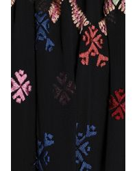 Needle & Thread - Woman Smocked Embroidered Crepe De Chine Blouse Black - Lyst