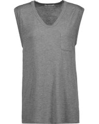 T By Alexander Wang | Gray Stretch-jersey T-shirt | Lyst