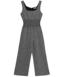 Maje - Black Shirred Cotton-blend Jacquard Wide-leg Jumpsuit - Lyst