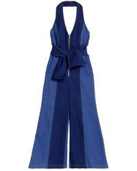 ef0583b7d13e Paper London. Women s Blue Soleil Two-tone Denim Halterneck Jumpsuit ...