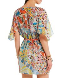 Emilio Pucci - Blue Printed Hammered-silk Dress - Lyst