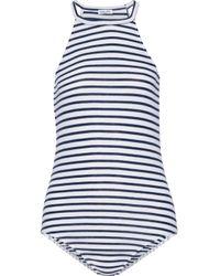 Splendid | White Striped Stretch-jersey Halterneck Bodysuit | Lyst