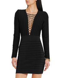 Balmain - Black Lace-up Ribbed Stretch-knit Mini Dress - Lyst