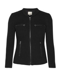 Joie - Black Jenika Textured Cotton-blend And Woven Jacket - Lyst