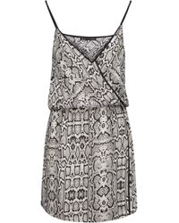 ViX - Black Sphinx Wrap-effect Snake-print Voile Mini Dress - Lyst