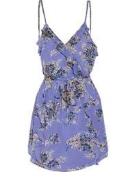 Joie | Blue Ruffled Printed Silk-georgette Mini Dress | Lyst