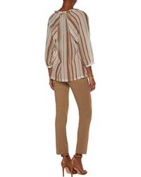 Raoul - Brown Fiorella Ruffled Striped Chiffon Blouse - Lyst
