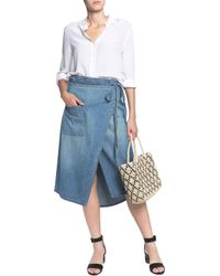 Current/Elliott - Blue The Paperbag Denim Wrap Midi Skirt - Lyst