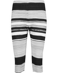 Norma Kamali - White Cropped Striped Stretch-jersey Leggings - Lyst