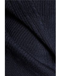Diane von Furstenberg | Blue Orla Open Knit-paneled Wool And Silk-blend Sweater | Lyst