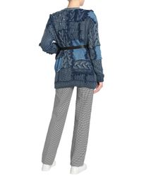 Stella McCartney - Blue Patchwork Cable-knit Cotton And Denim Cardigan Mid Denim - Lyst