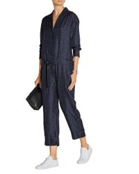 Rag & Bone - Blue Arthur Polka-dot Silk-twill Jumpsuit - Lyst