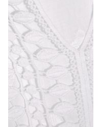 Miguelina - White Sadie Crochet-paneled Embroidered Cotton-gauze Coverup - Lyst