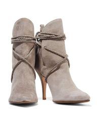 Schutz Gray Fadhila Tasseled Suede Ankle Boots