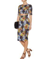 Suno - Blue Cutout Printed Stretch-silk Dress - Lyst